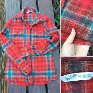 Woolrich women's 100% wool flannel plaid shirt XS